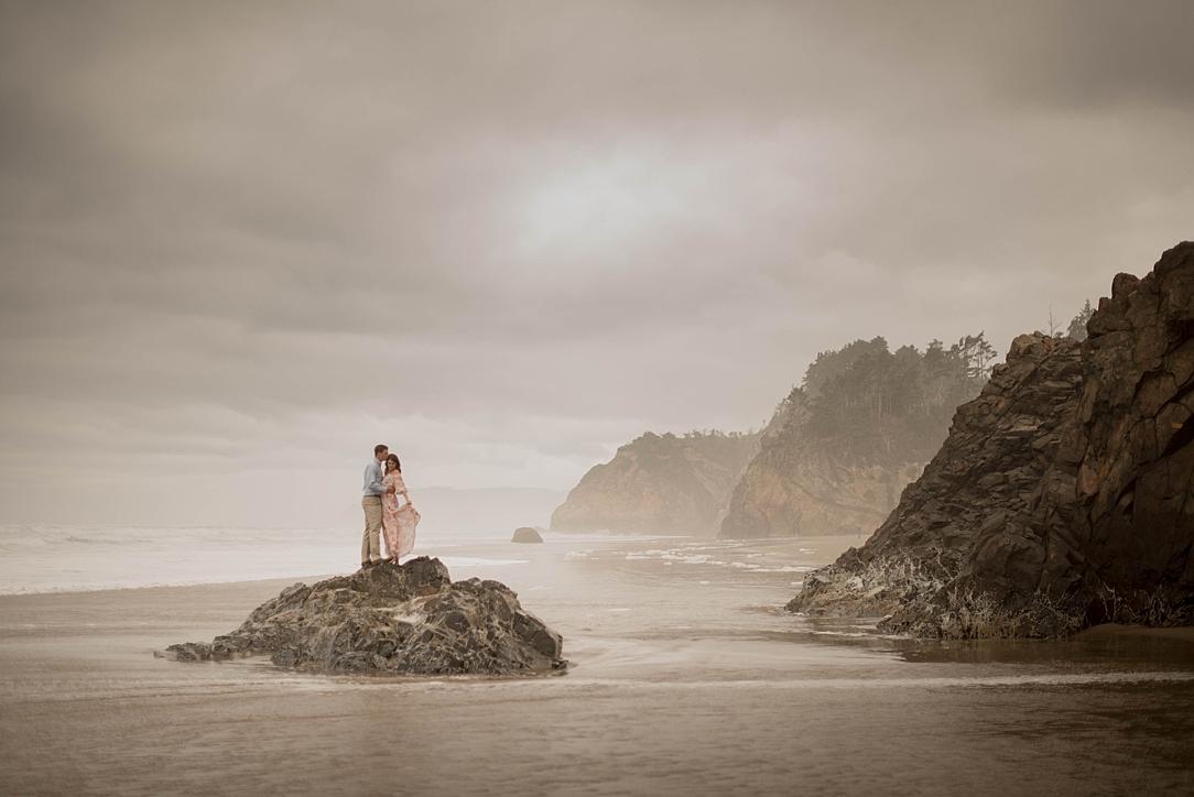 dreamy foggy cannon beach oregon engagement shoot