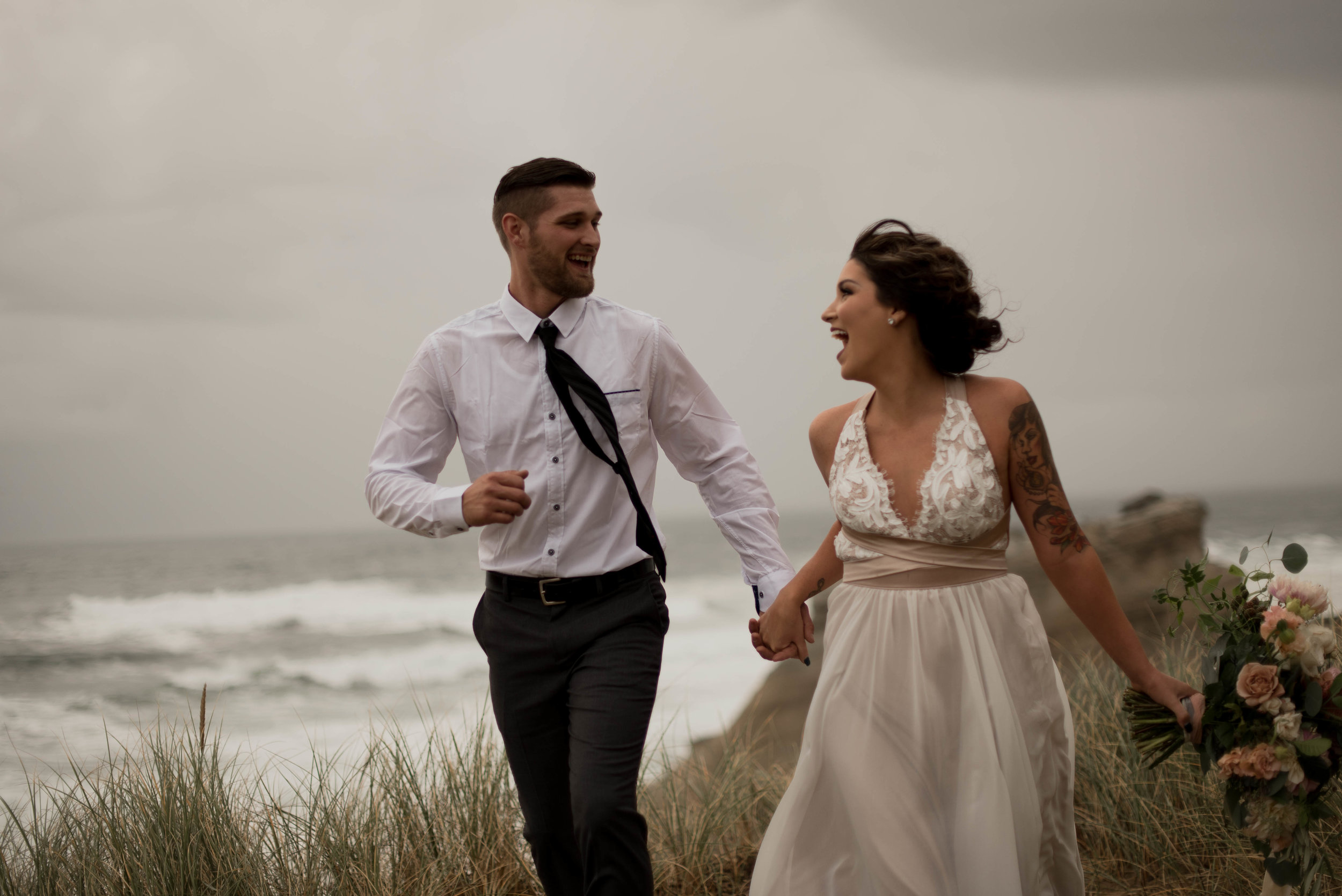 windy oregon coast elopement