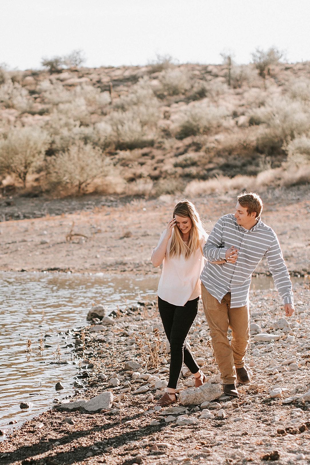 playful arizona desert engagement