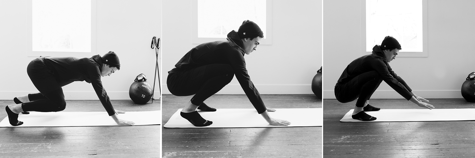 IN ALL FOURS, PLACE TOES ON MAT AND PUSH BODY BACK USING ARMS UNTIL YOUR HEELS ARE FLAT ON THE GROUND. 10 REPS
