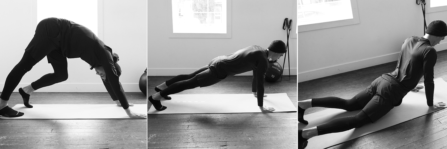 START IN DOWNWARD DOG. SLOWLY MOVE INTO A PLANK, BRACING THE ABDOMINALS. HOLD THE POSITION FOR ABOUT 5 SEC. SLOWLY DROP HIPS INTO THE GROUND. RETURN TO YOUR PLANK BEFORE MOVING TO DOWNWARD FACING DOG. 10 REPS