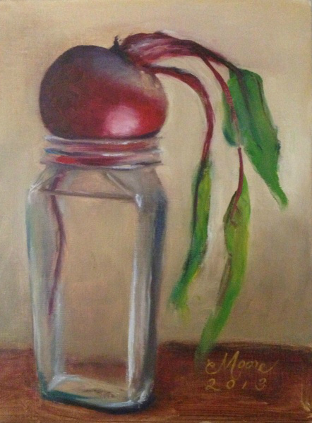 "BEET WILTING, 9X12"", OIL ON LINEN, BY CAMILLE MOORE"