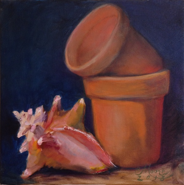 "CONCH GARDEN, 12X12"", OIL ON LINEN, BY CAMILLE MOORE"