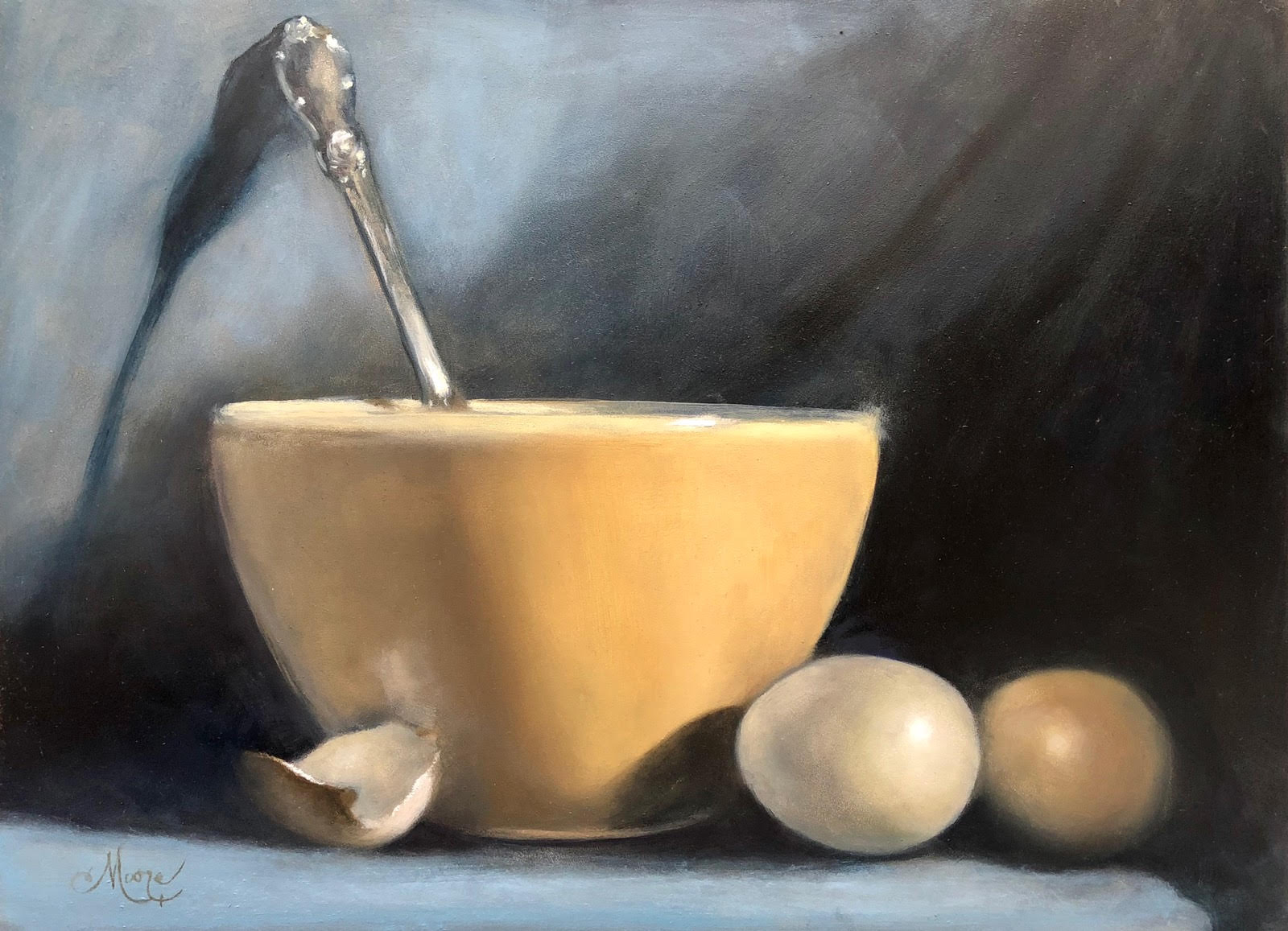"Bowl. Eggs. Spoon.  16x12"" oil on panel by Camille Moore"