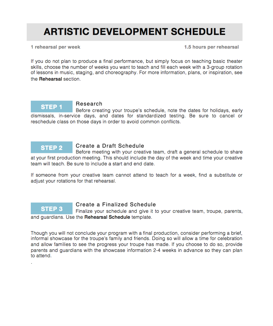 Artistic Development Schedule -