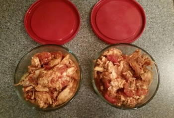 Lot's of leftover chicken for future dinners. Would be great on a bun with a coleslaw.