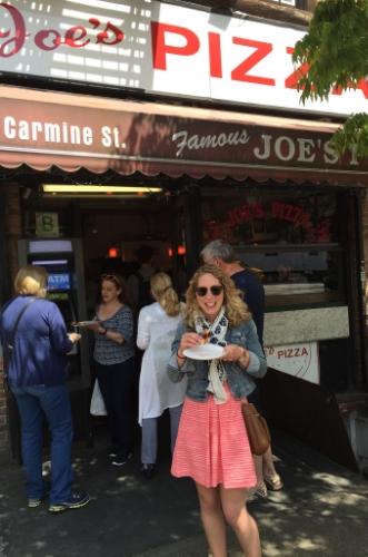 Enjoying Pizza from  Joe's - a Greenwich Village institution since 1975!
