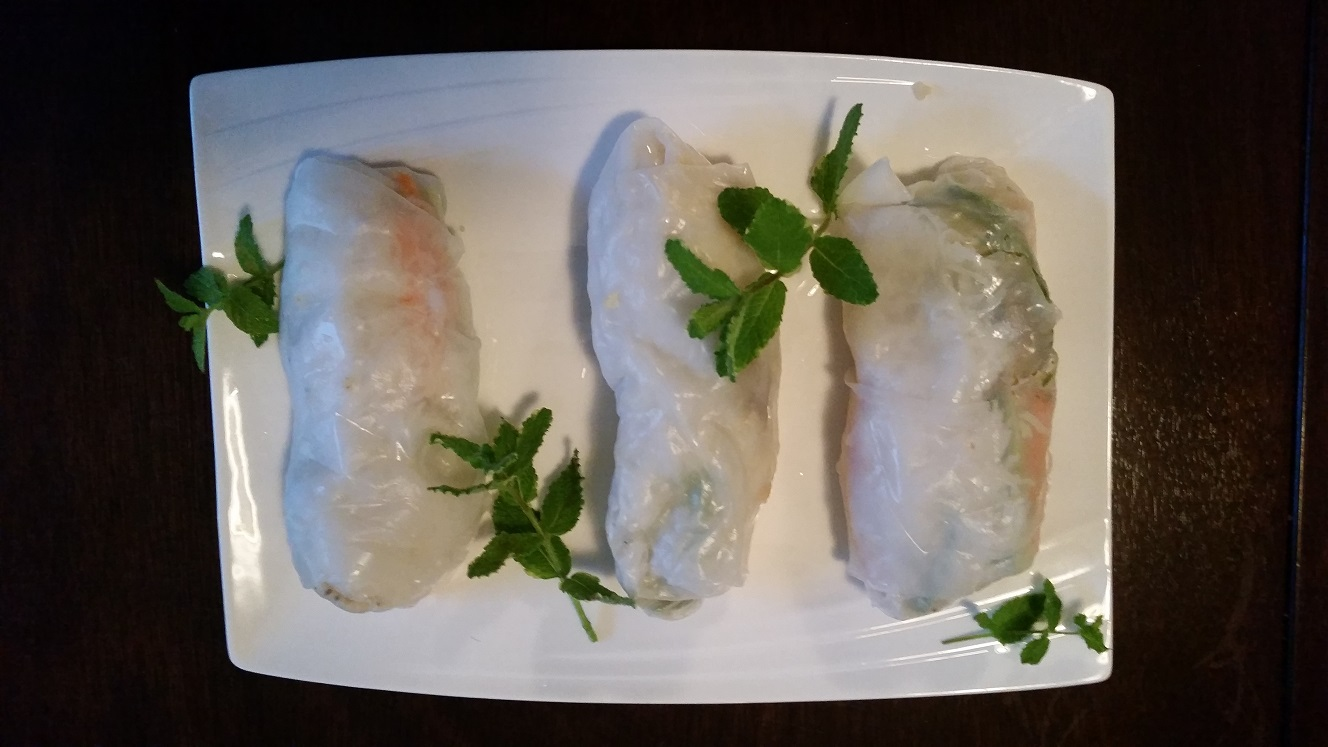 Oddly shaped spring rolls, still delicious!