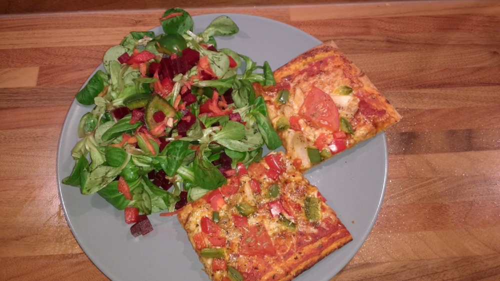 Homemade pizza and salad - we really piled the veggies on this pizza!