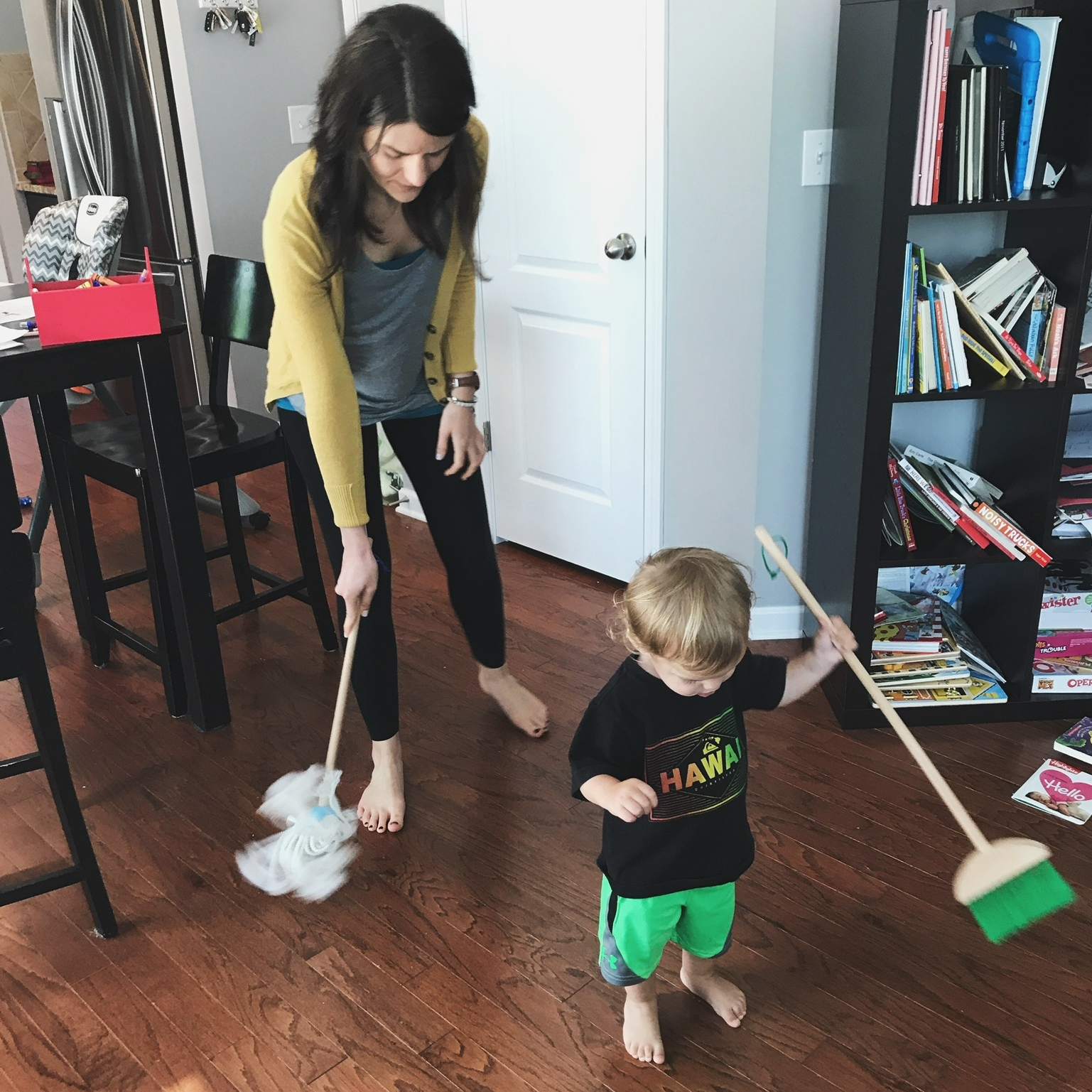cleaning crew. (sweeping and mopping with jack reminds me of lawn mowing and leaf blowing with luca, when he was this age.)