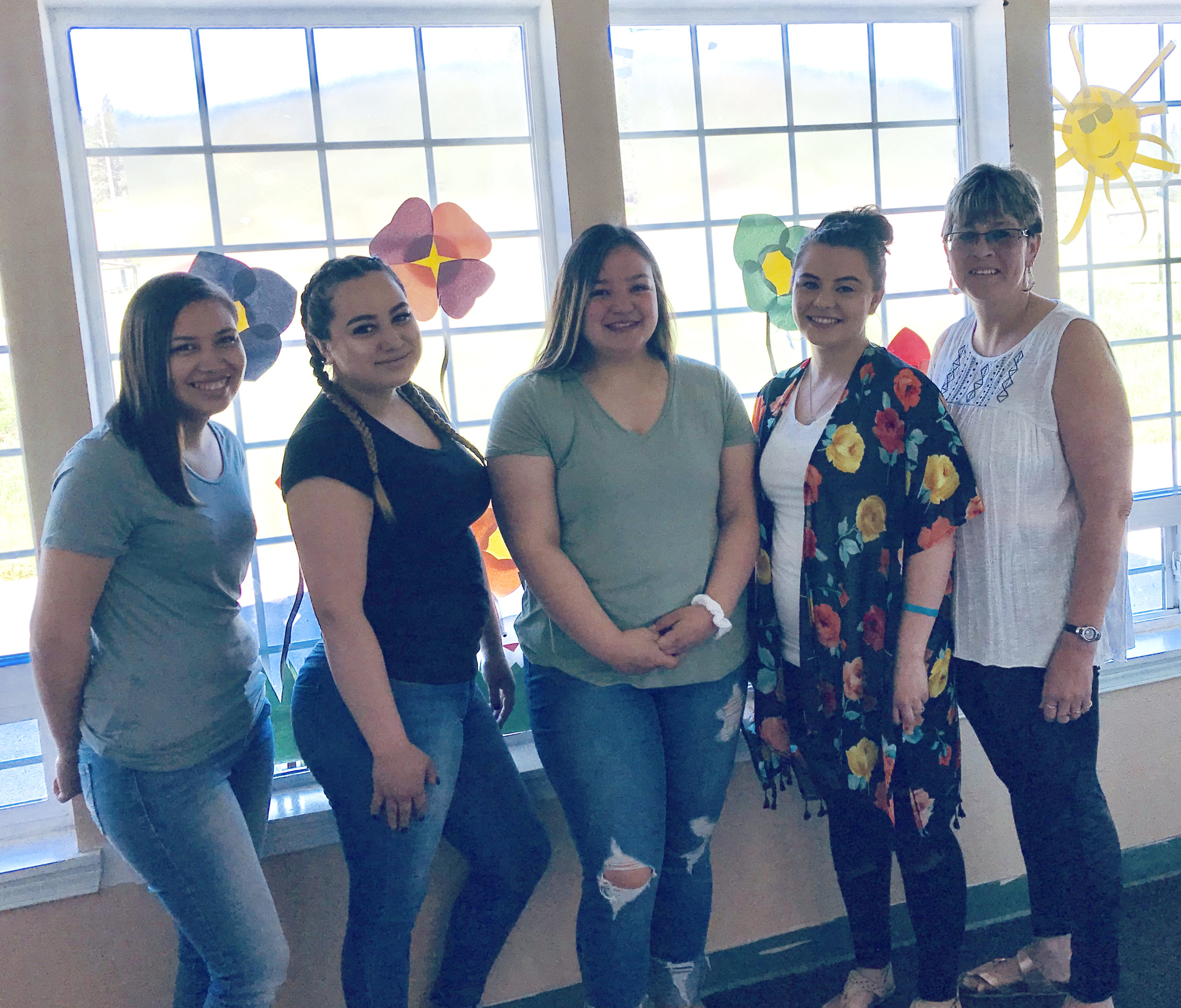 L – R:  Loren Fry , Child Care Assist.;  Amy King , Child Care Assist.;  Joelle Boyd , Child Care Assist.;  Leah Zacherle-Boyd , Lead Child Care Assist.;  Cindy Whitney , Cook/Janitor