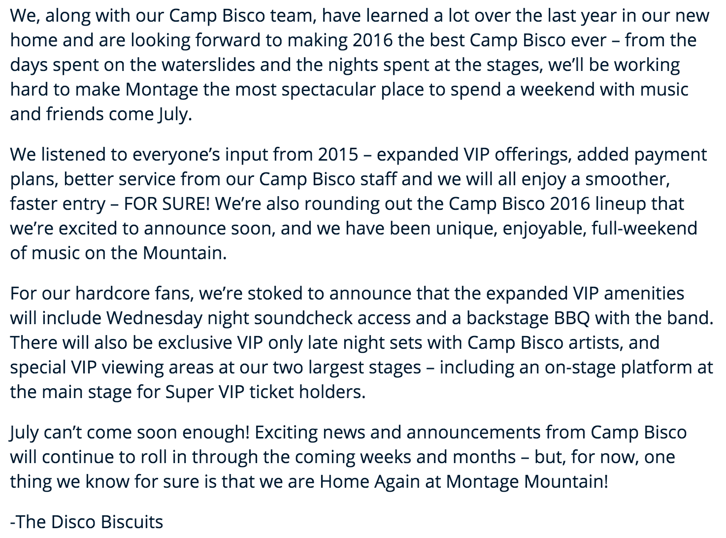 The Disco Biscuits announcement for the 2016 Camp Bisco