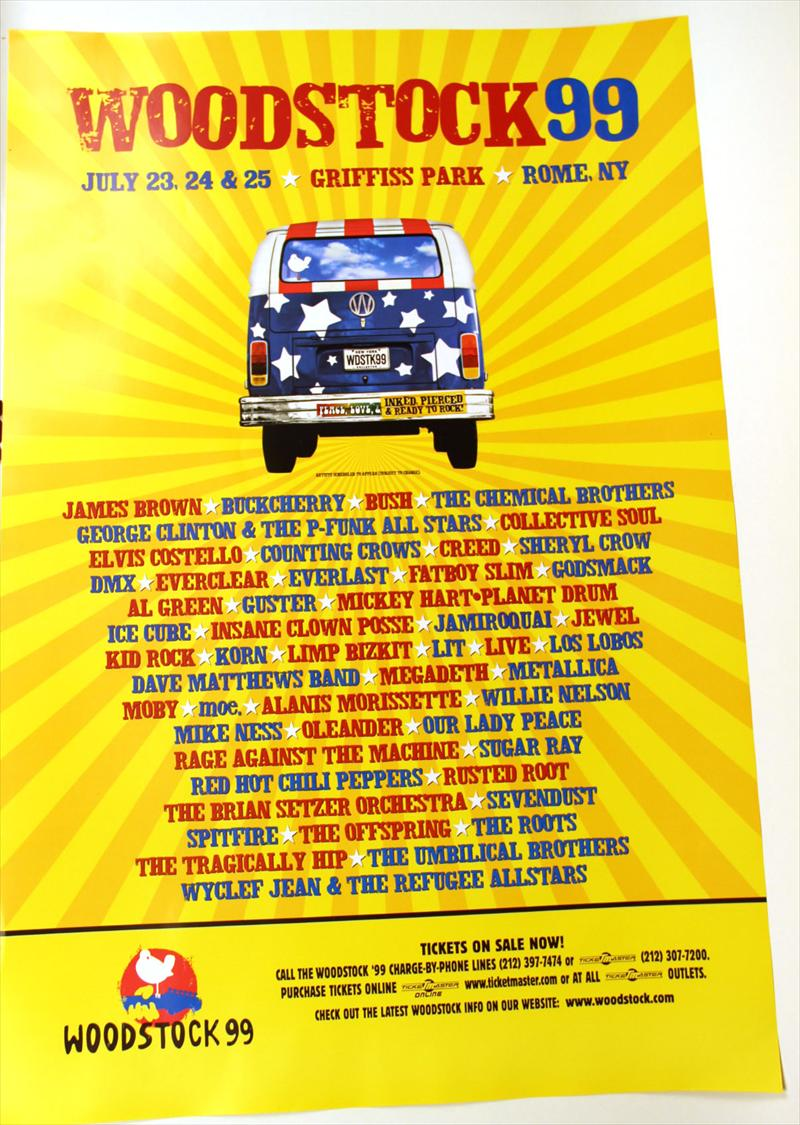 Woodstock '99's lineup poster, some of the performers such as Foo Fighters never showed up (they wanted to finish mastering their new album at the time, not because they could see the upcoming doom that was Woodstock '99
