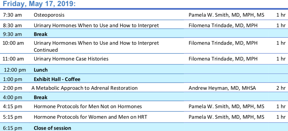 Module I: Endocrinology    Session Schedule    Schedule Subject to Change