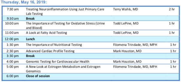 Module V Clinical Intensives: How to Interpret Functional Medicine Labs    Session Schedule    Schedule Subject to Change