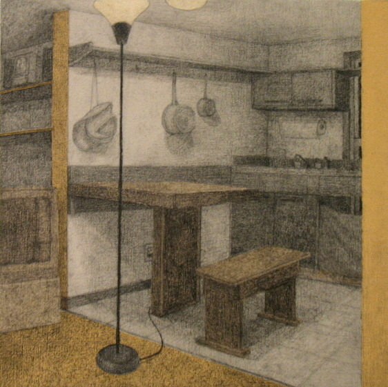 graphite, acrylic mediums, and paper on panel