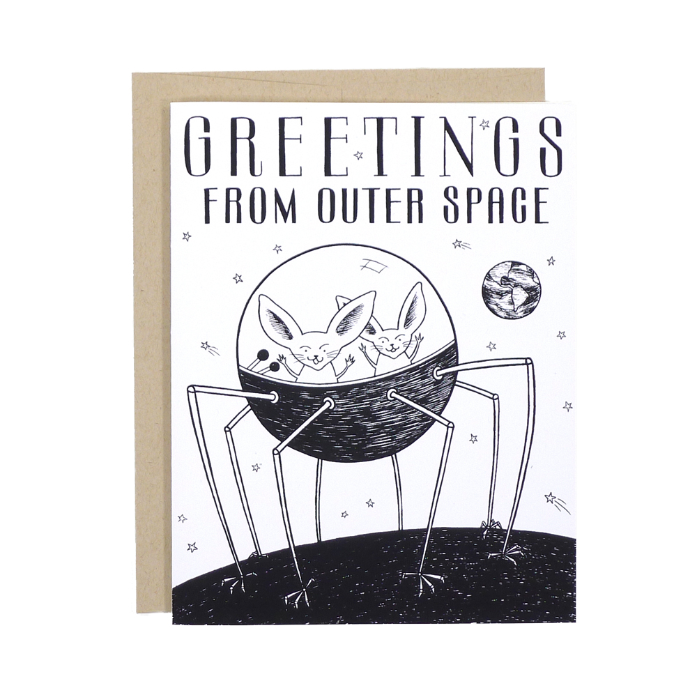 greetings from outer space card