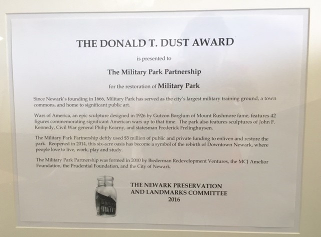 Donald Dust Award Military Park