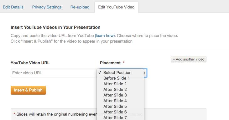Uploading YouTube Video to SlideShare