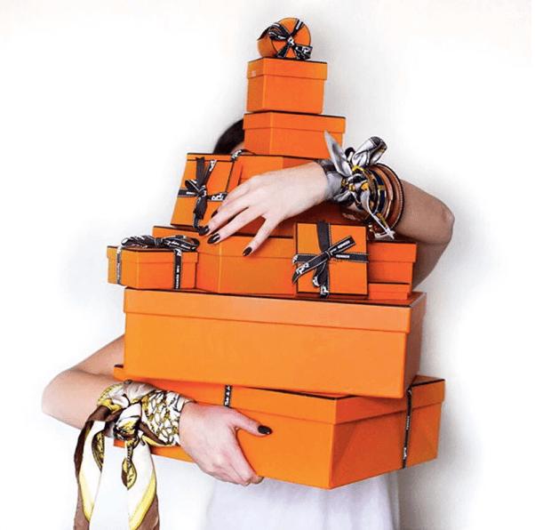 [ Iconic orange Hermès boxes ]