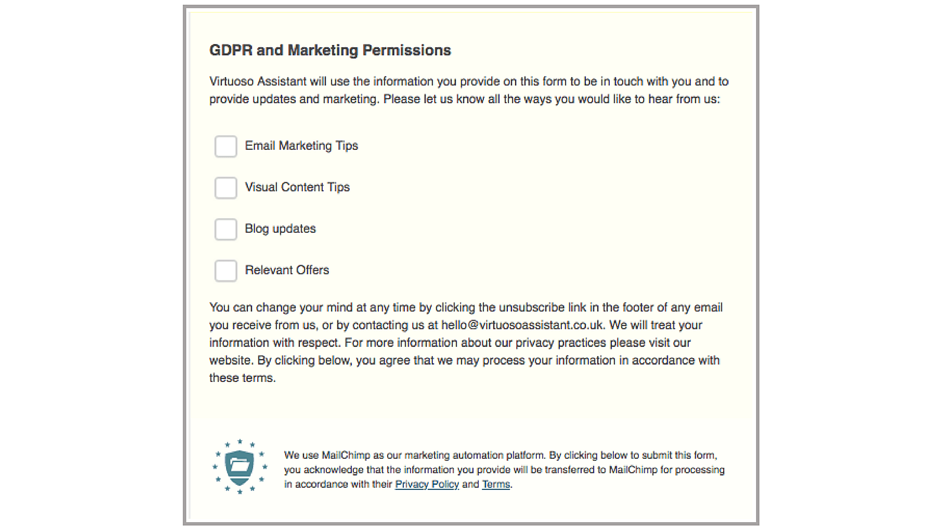 [Completed MailChimp GDPR Form Fields]