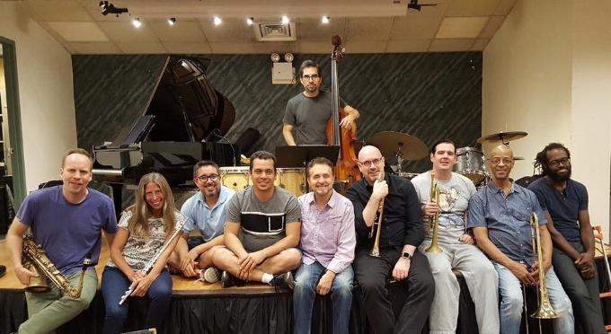 Memo Acevedo's Manhattan Bridges Orchestra after a rehearsal (Memo is below center).
