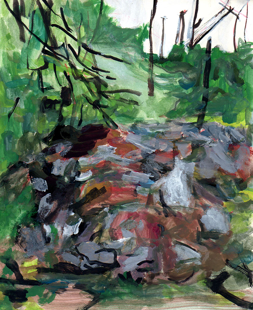 """Dig Site 4: Alley Behind mild climate, gouache on paper, 7""""x5"""", 2016"""