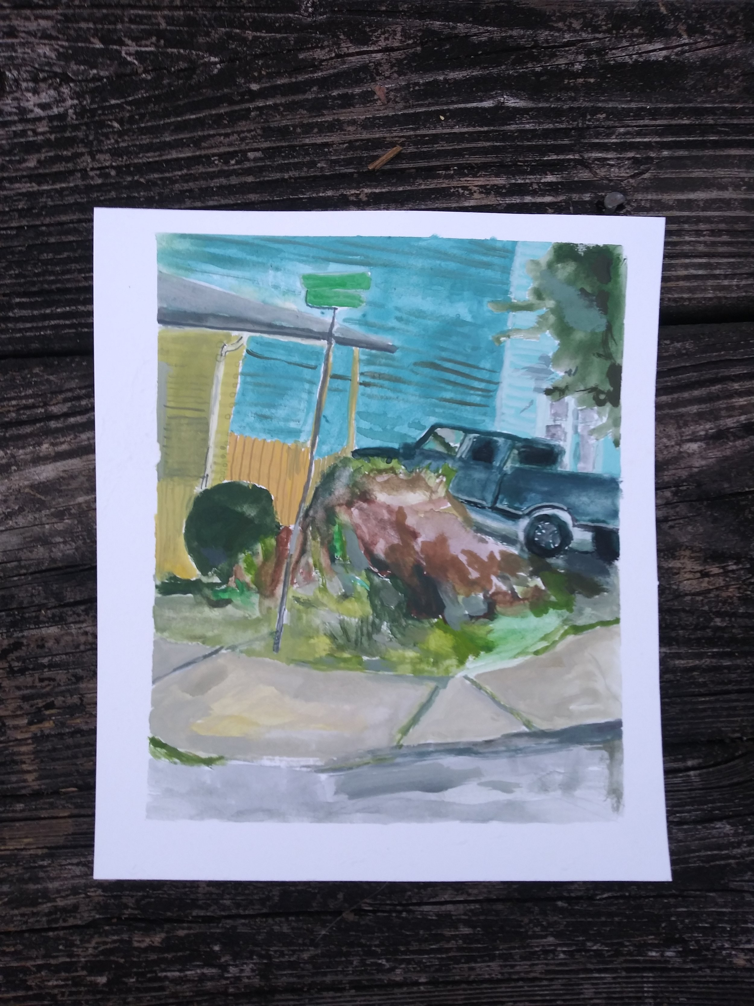 """This is a mound seen in Athens Georgia in the spring of 2017. Gouache on paper, 5""""x7"""", 2018"""