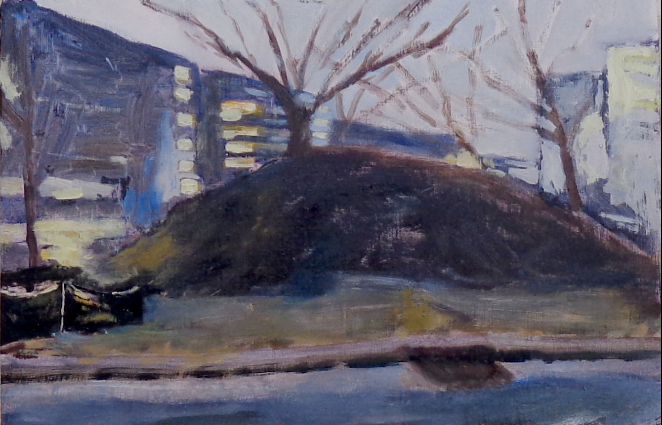 """Love Circle Mound  A Nashville mound that existed a year ago in West Nashville near a place known as Love Circle. Now there are townhouses, most still for sale as of winter 2019. Oil on wood, 6""""x8"""", 2018"""