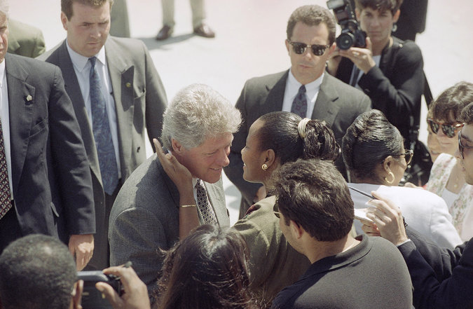 President Bill Clinton arriving at Los Angeles International Airport on May 18, 1993. Two runways were shut down that day so that he could have a $200 trim aboard Air Force One.    CreditMark J. Terrill/Associated Press