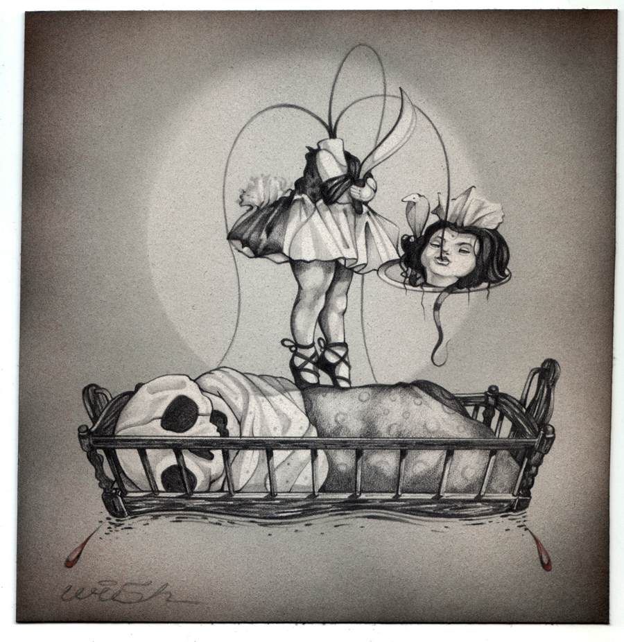 "Dimensions & Medium:   10x10"" Graphite & Watercolor on Paper. Date:   2005 Accompanies the Painting:  Victorian Sacrifice II."