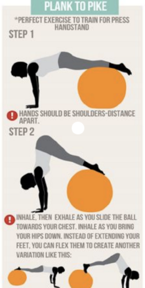 plank to pike yoga ball