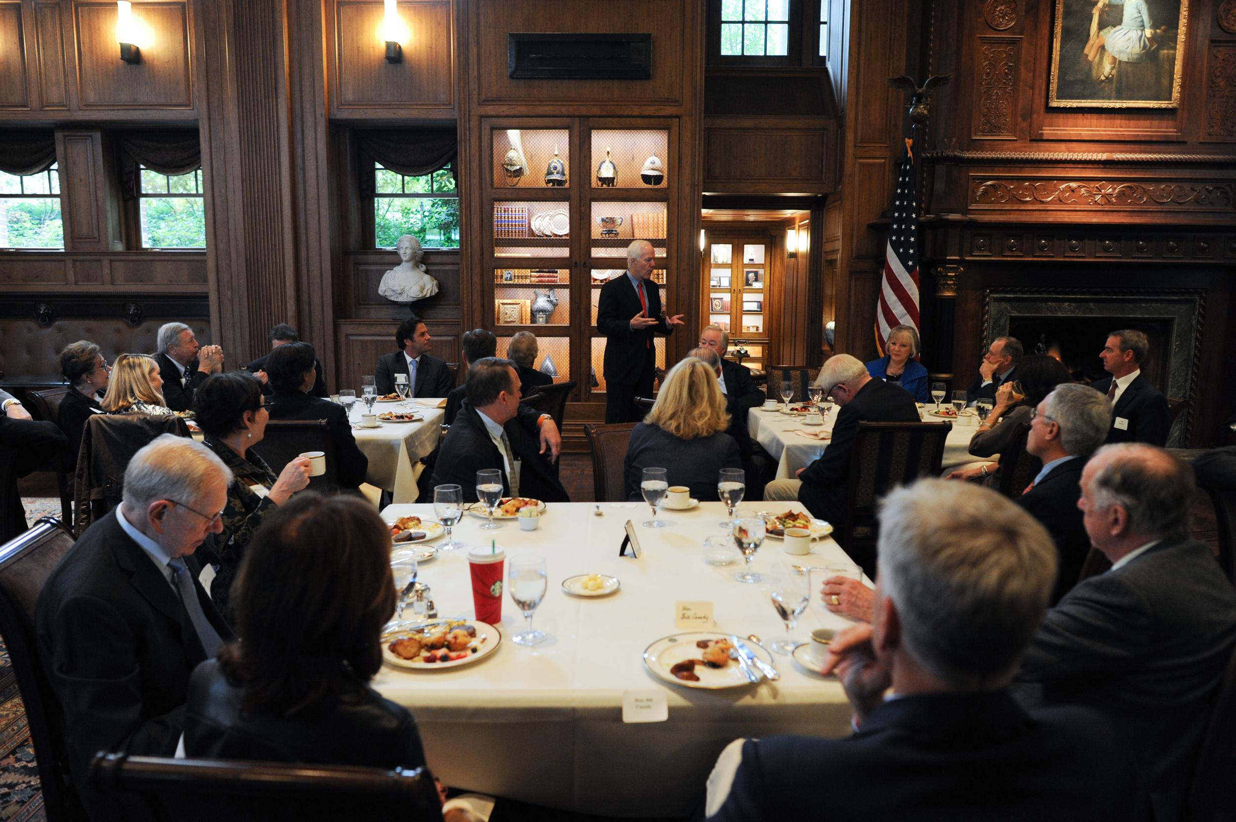 Senator John Cornyn speaks at the Senate Battleground Fund Breakfast in November 2014.