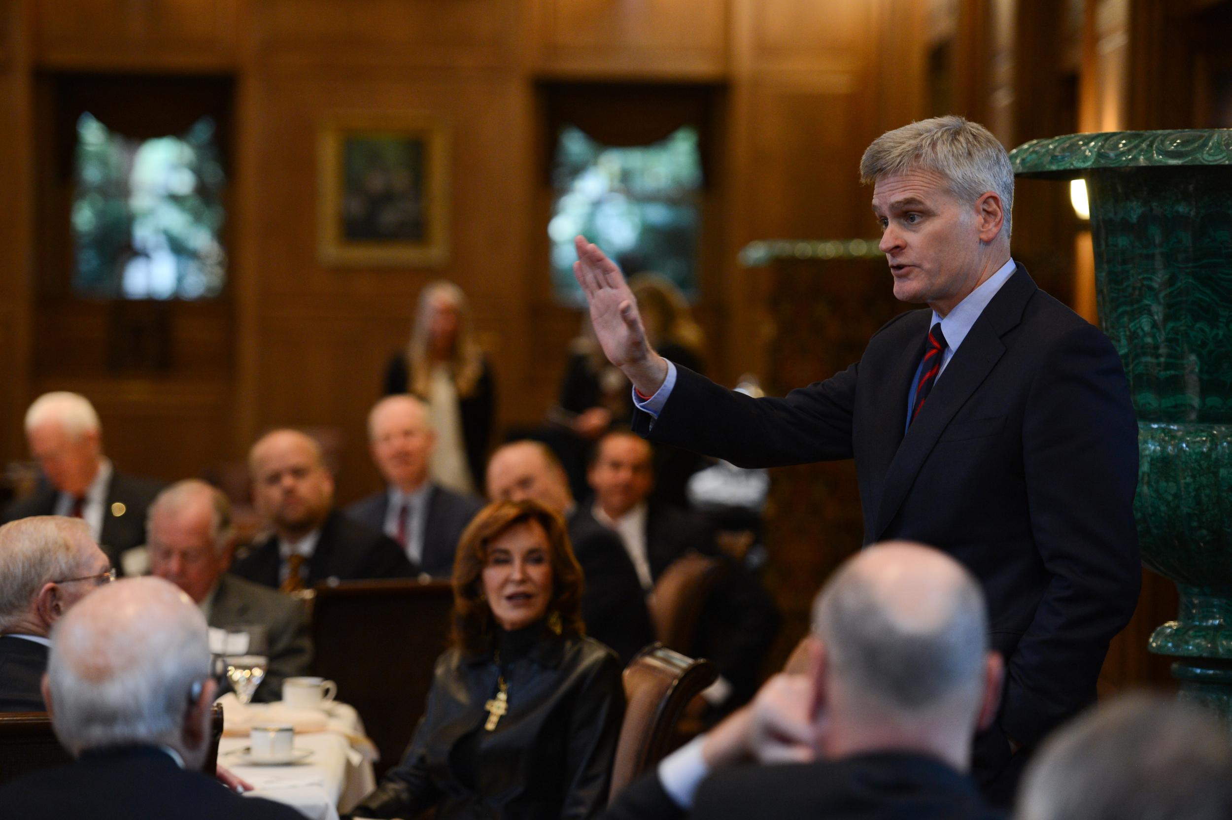 Senator Bill Cassidy speaks at the Senate Battleground Fund Breakfast at Old Parkland in 2014.
