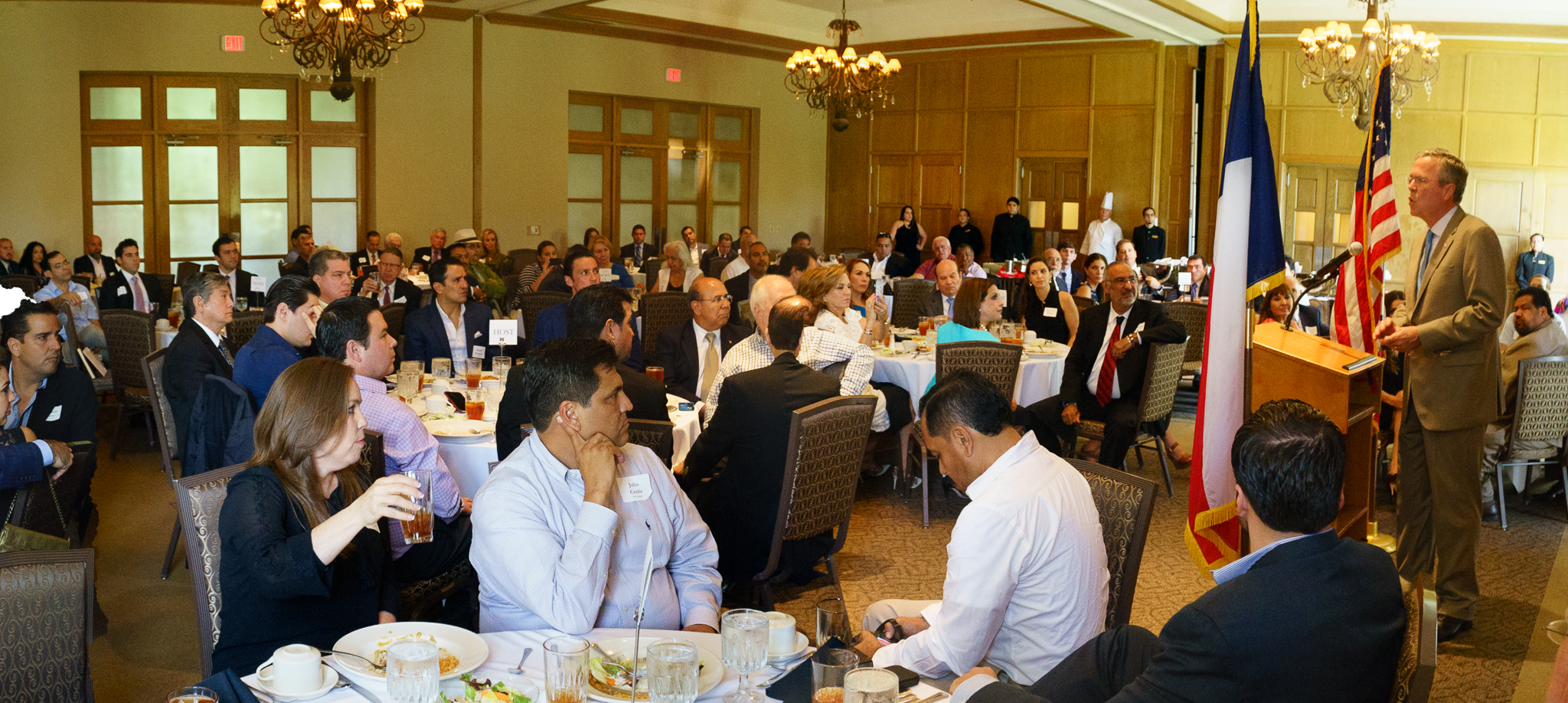 Governor Jeb Bush speaks with supporters at a breakfast in McAllen, TX in August 2015.