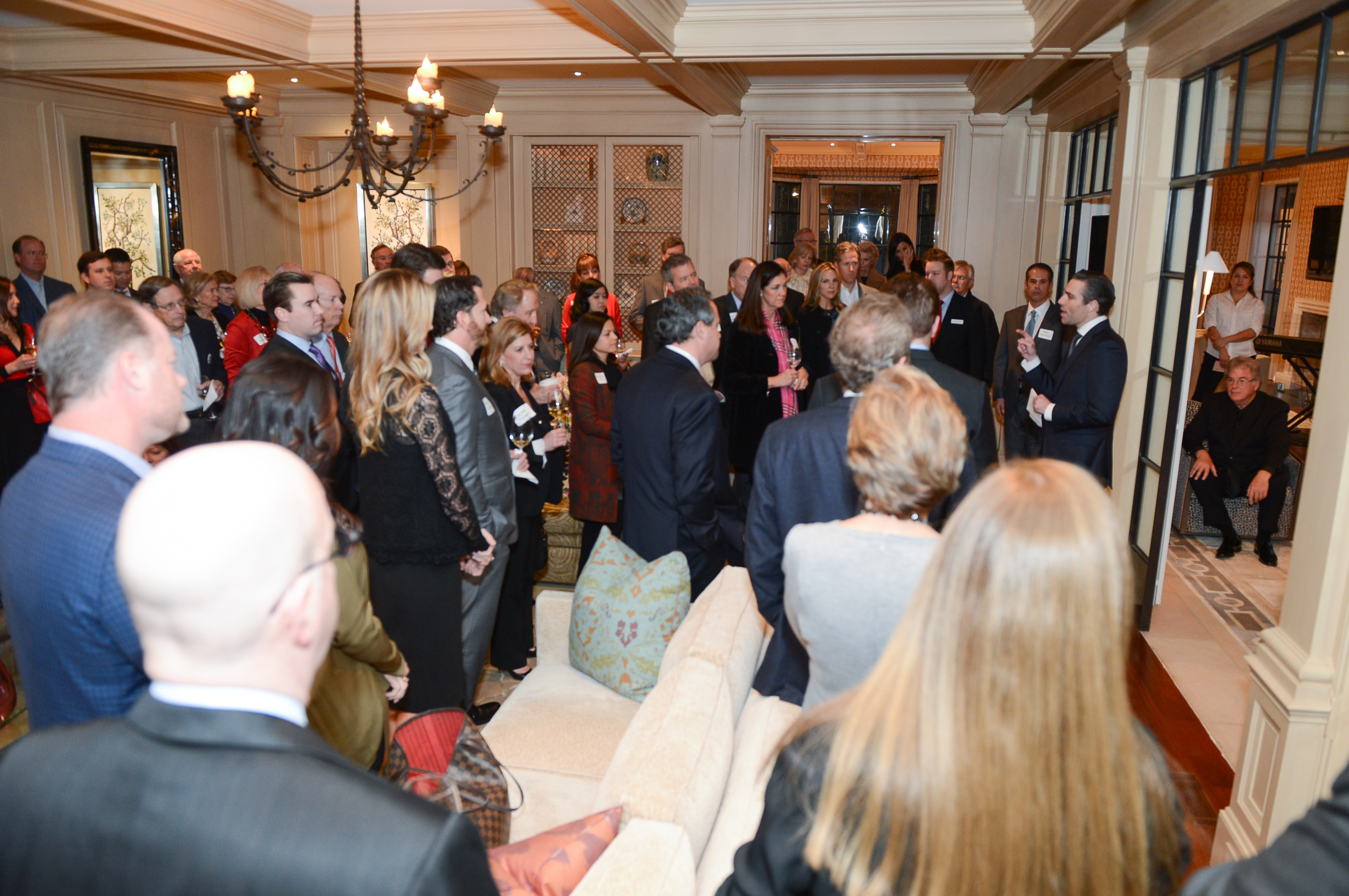State Representative Morgan Meyer (HD-108) speaks to a crowded room of North Texas supporters in 2016.
