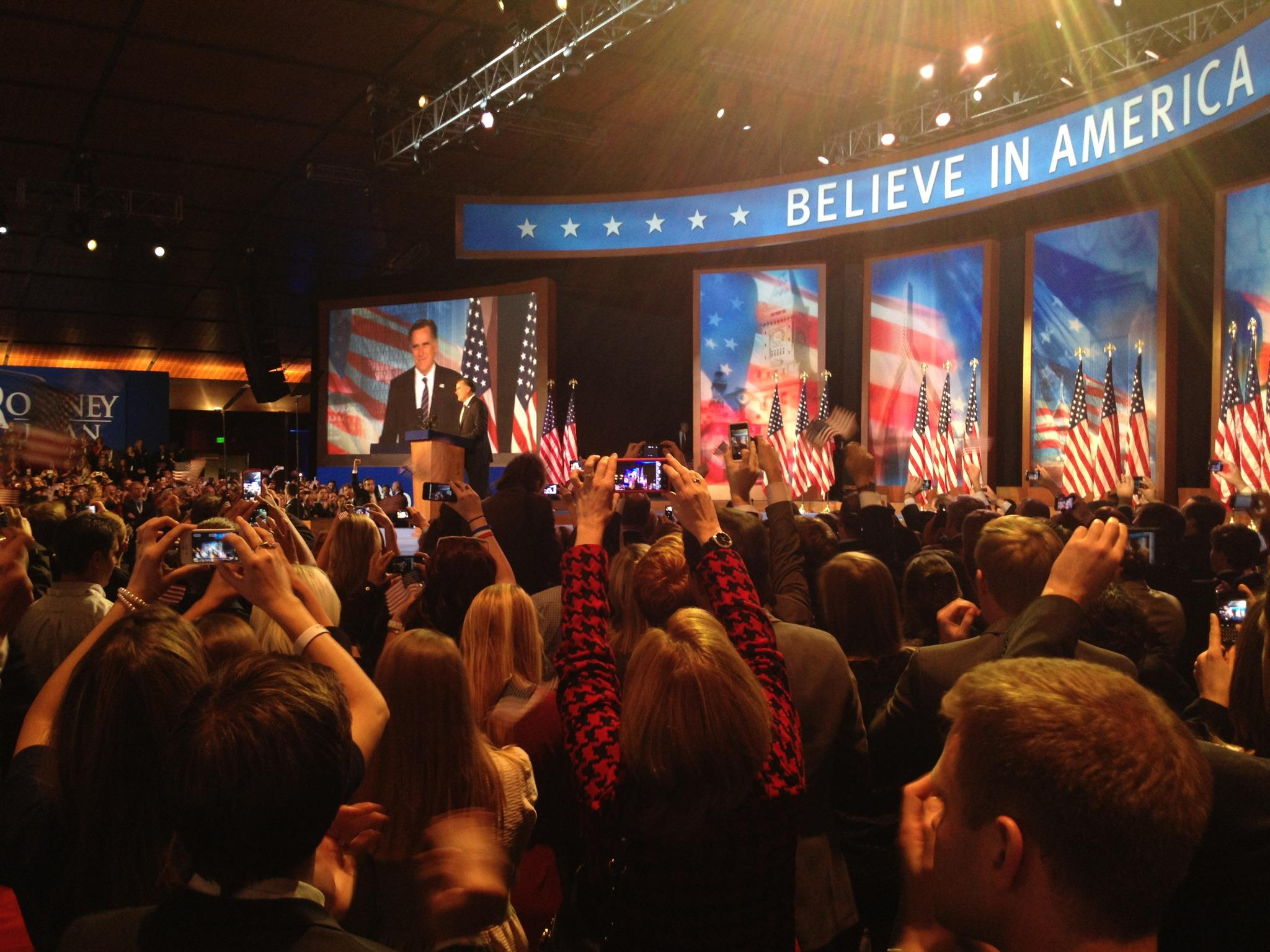 Governor Mitt Romney speaks to a crowd of supporters in November 2012.