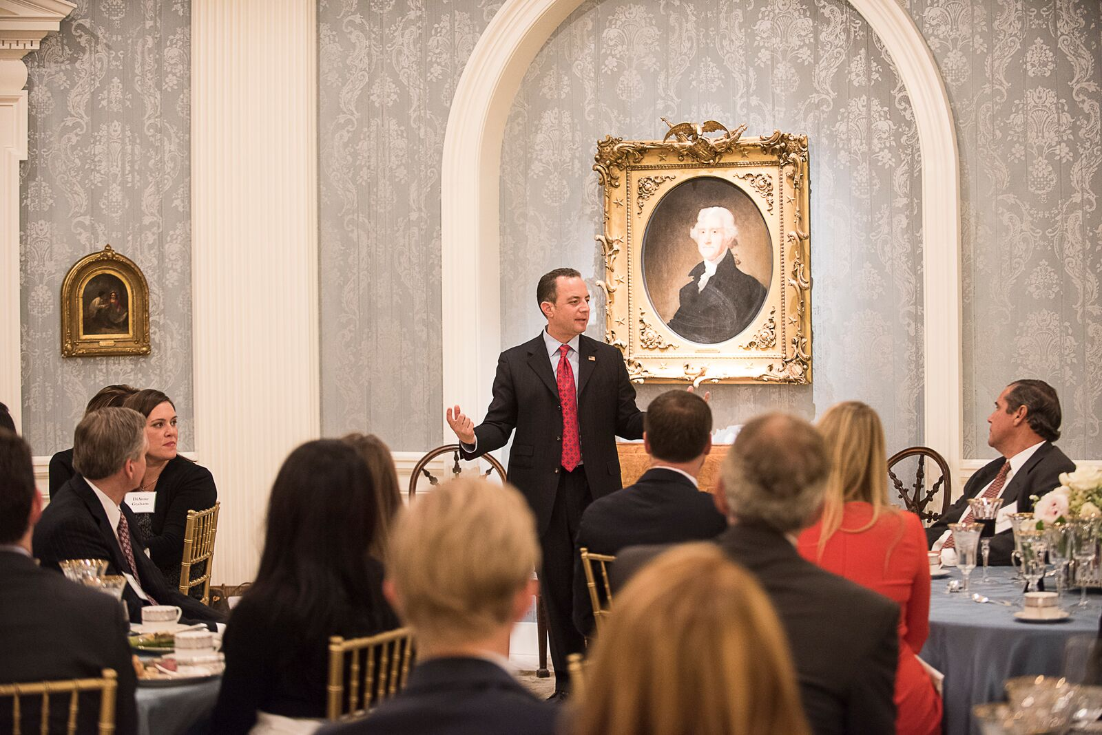 RNC Chairman Reince Priebus speaks to supporters at the RNC Presidential Trust Dinner at Old Parkland in 2015.