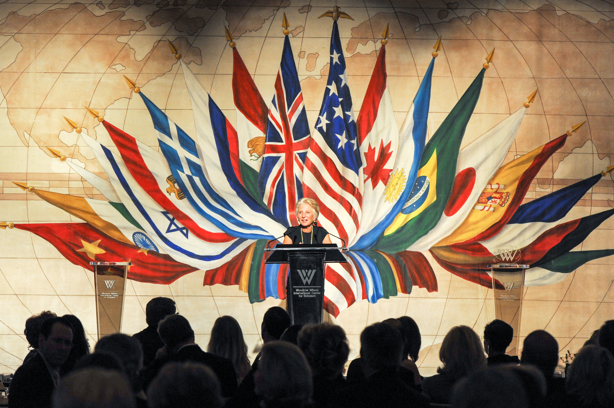 Jane Harman, the Director, President, and CEO of the Wilson Center, gives remarks at the award ceremony in Dallas in 2014.