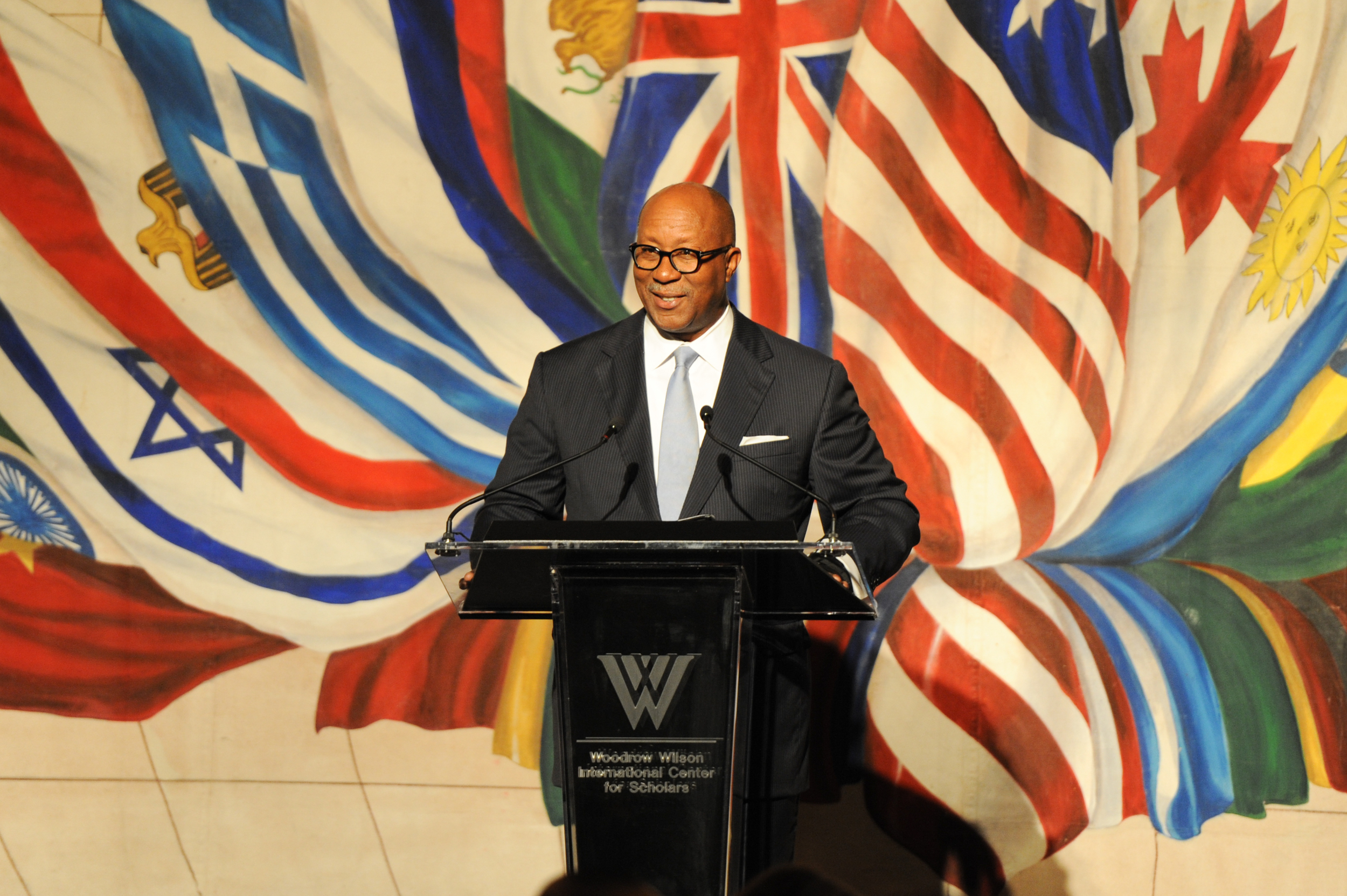 Former Dallas Mayor and event Honorary Co-Chair, Ron Kirk, speaks at the Woodrow Wilson Center Awards in 2014.