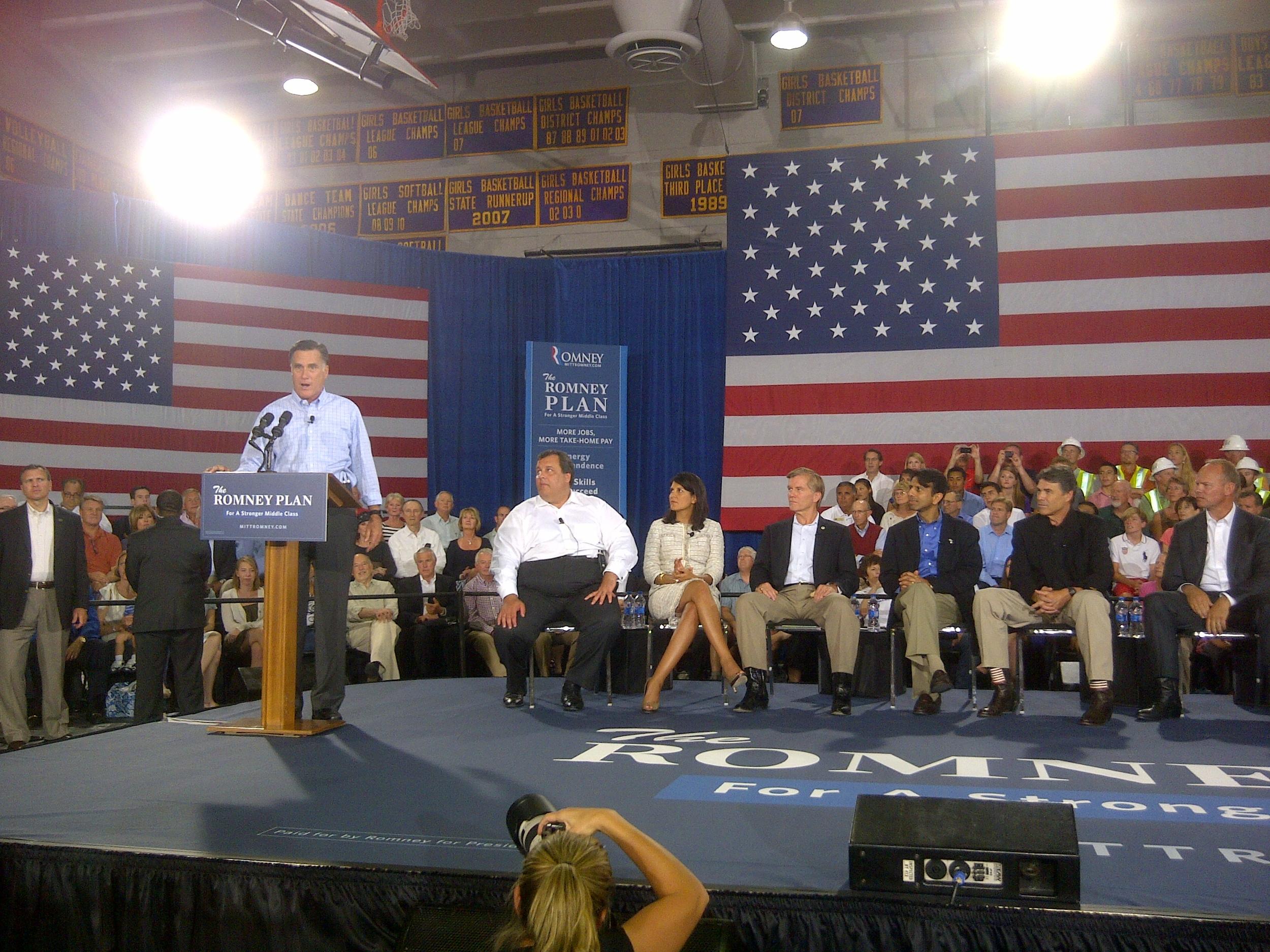 Senator Mitt Romney speaks at a Colorado rally in 2012.