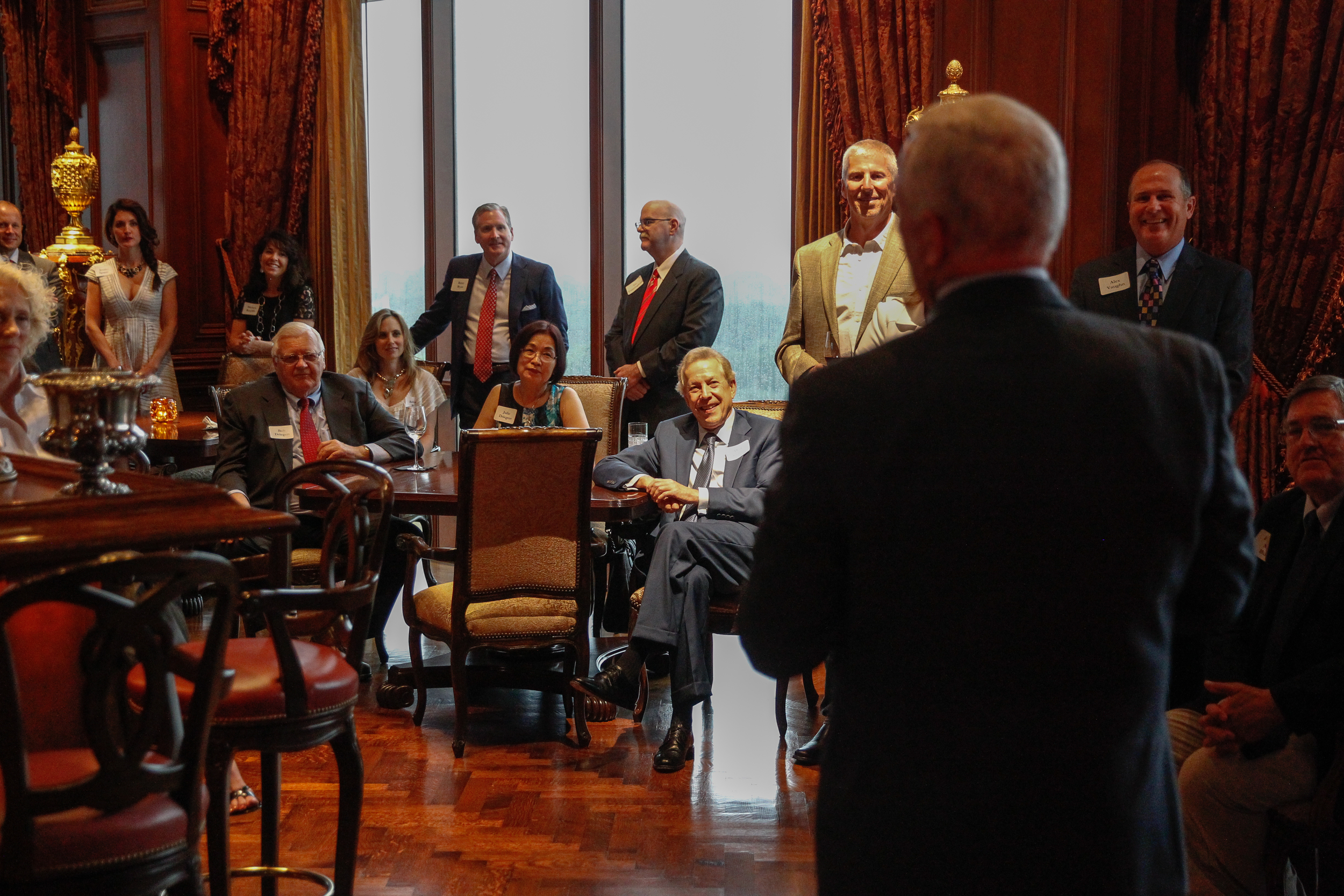Vice President Mike Pence gives remarks to a crowd of supporters at a Dallas evening reception in 2016.