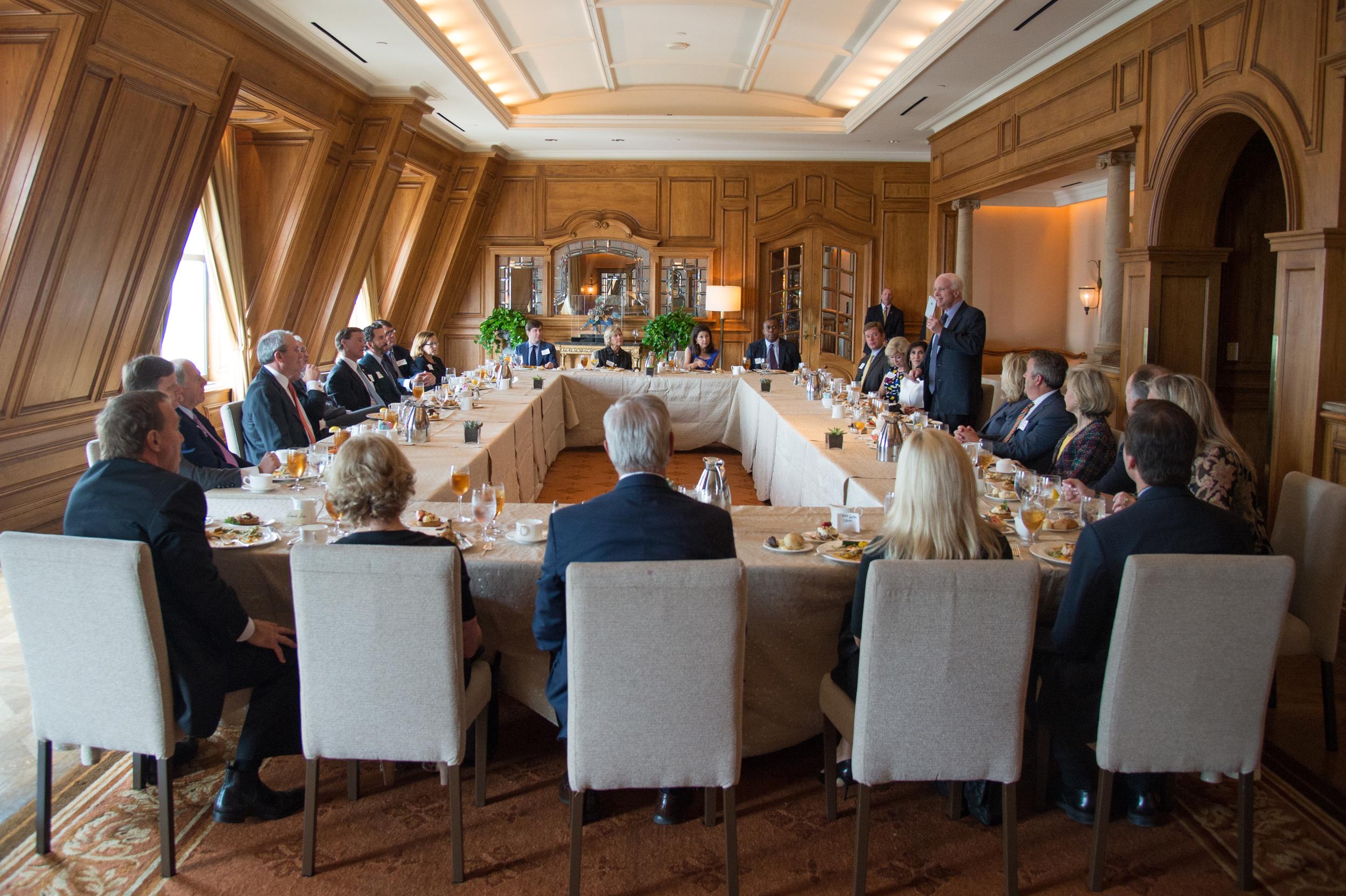 Senator John McCain (R-AZ) addresses and updates attendees at a Dallas luncheon in June, 2016.