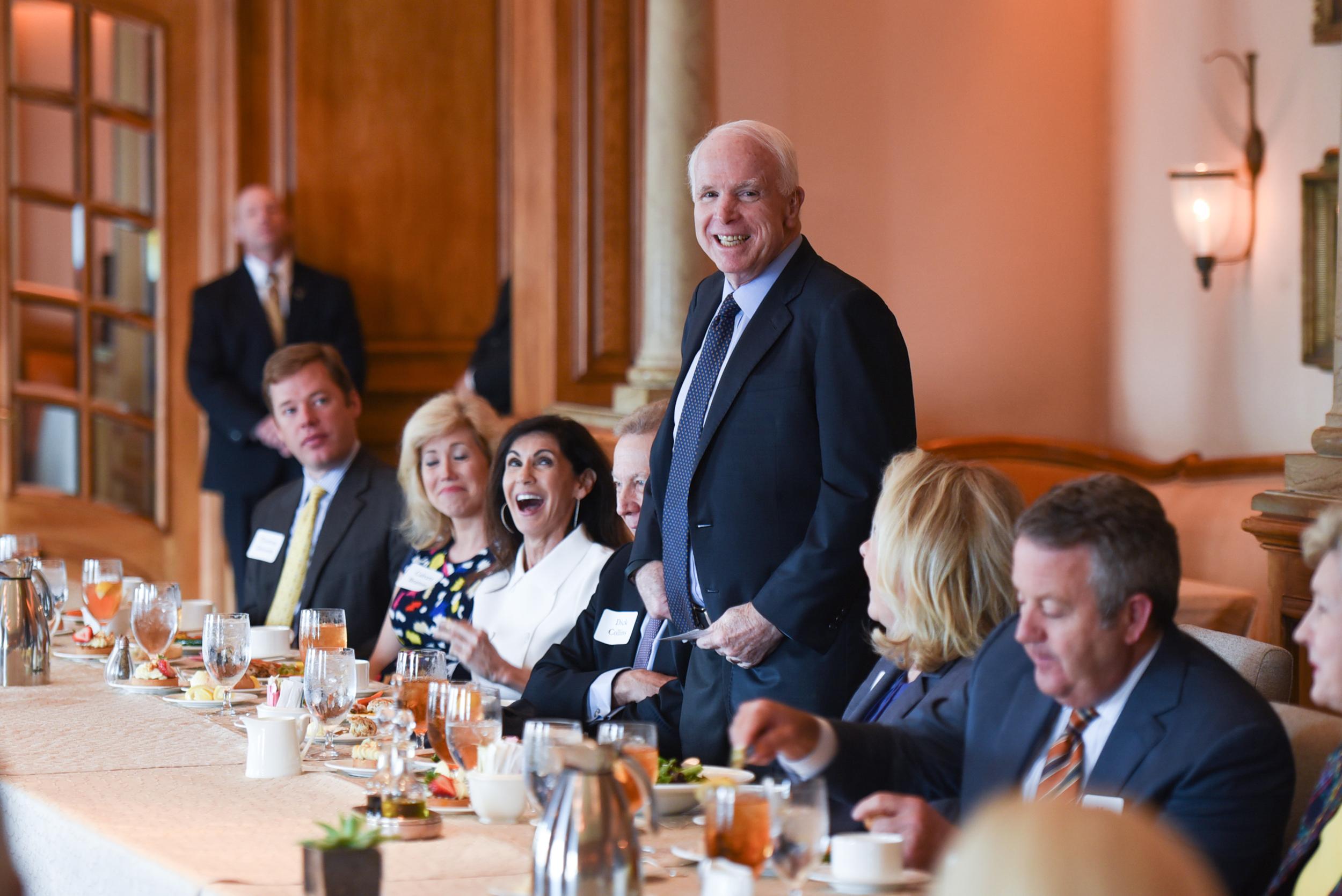Senator John McCain (R-AZ) thanks supporters at a Dallas luncheon in June, 2016.