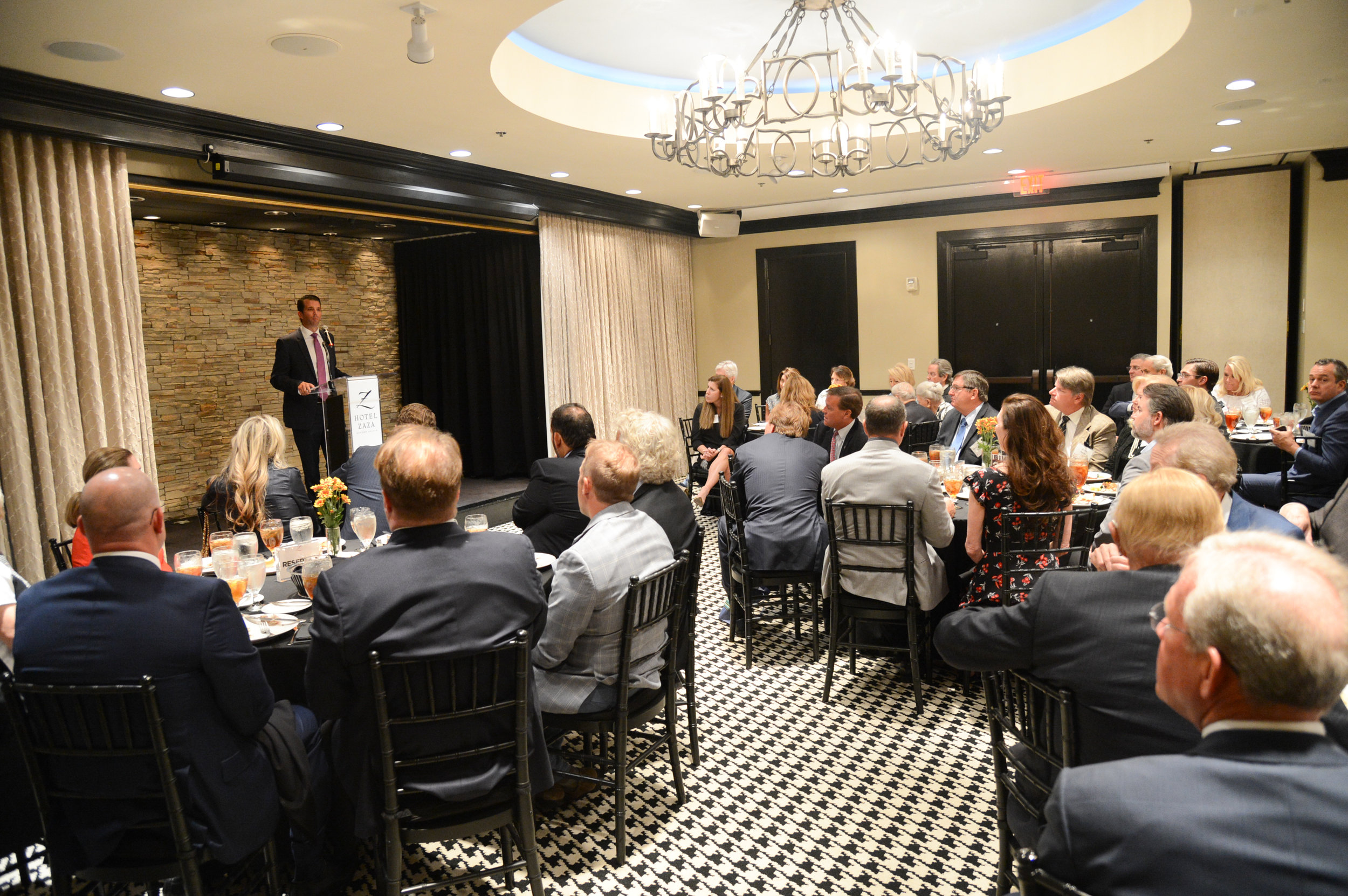 Donald Trump, Jr. speaks with supporters at a Dallas luncheon in 2016.