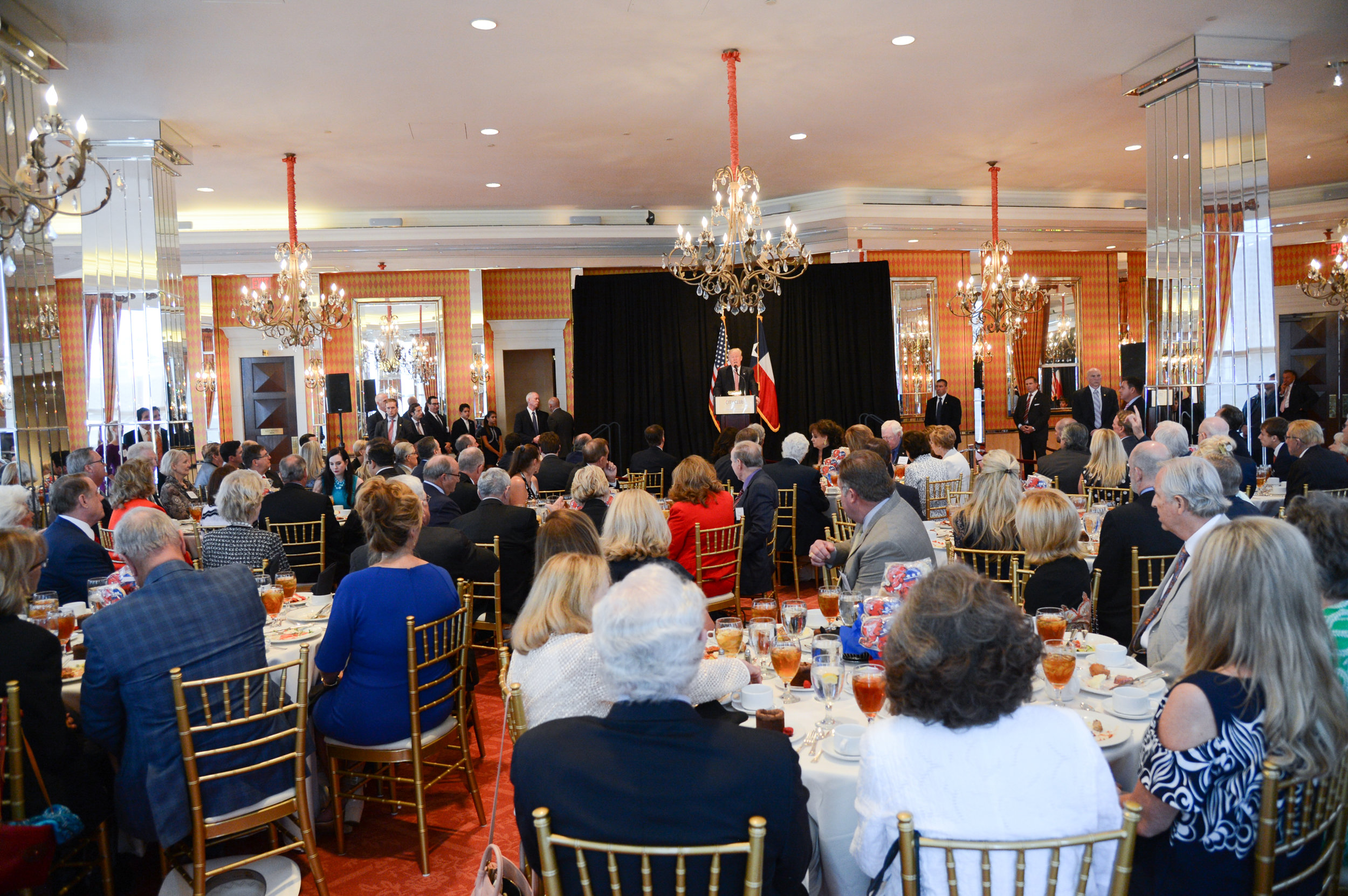 Donald J. Trump gives remarks during a Fort Worth Luncheon on August 23.