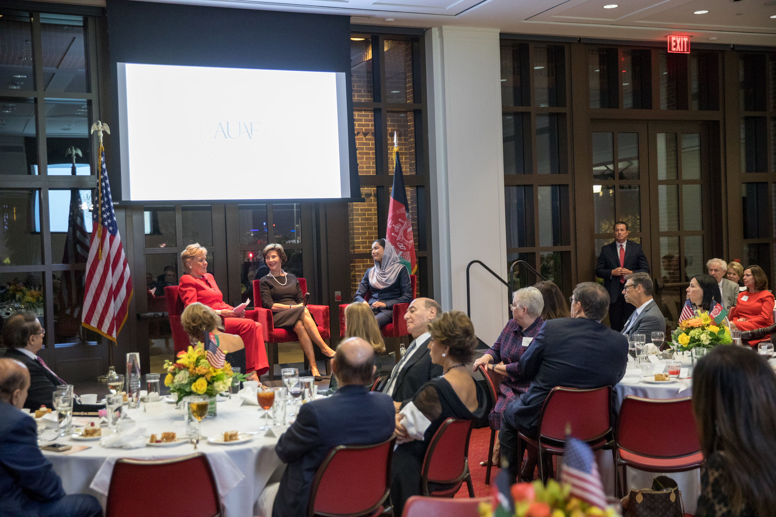 Former First Lady Laura Bush speaks on a panel with FAUAF at the George W. Bush Presidential Library in 2017.