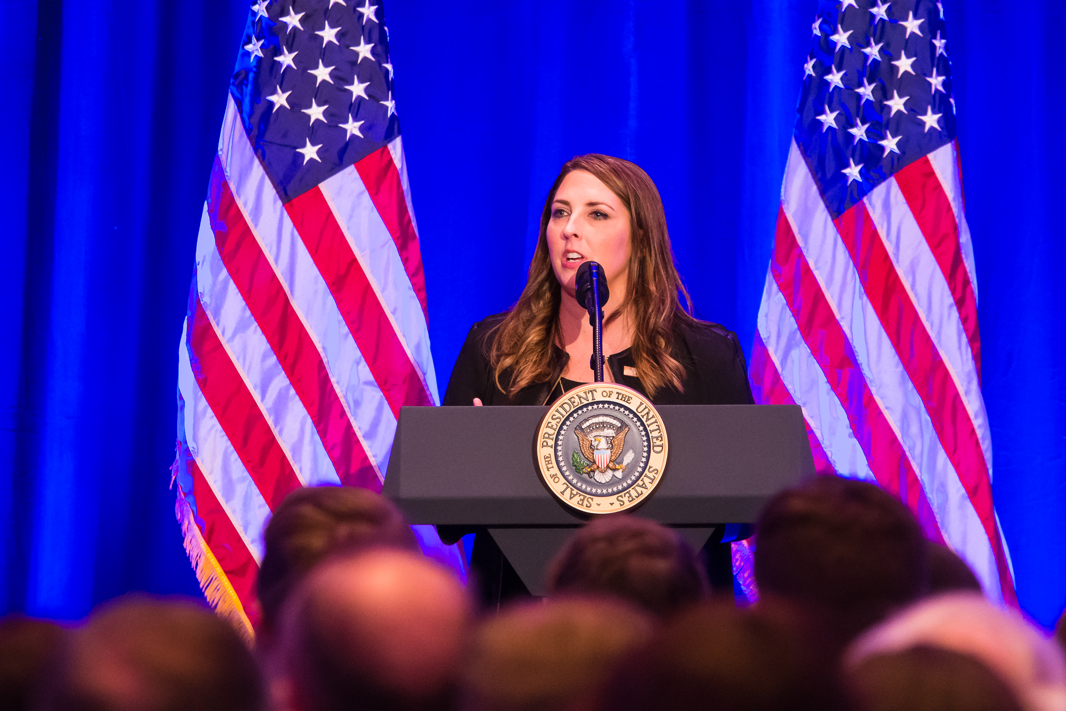 RNC Chairwoman Ronna McDaniel speaks at the Trump Victory event in 2017.