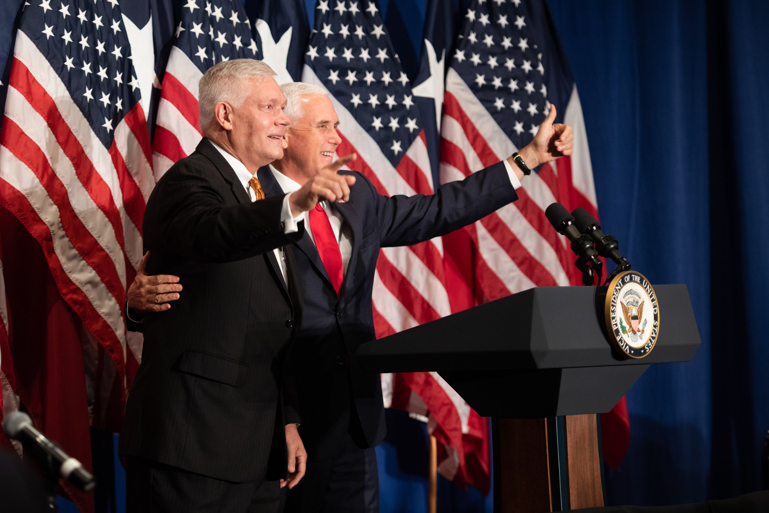 Vice President Mike Pence with former TX-32 Congressman Pete Sessions at the Hilton Park Cities in 2018.