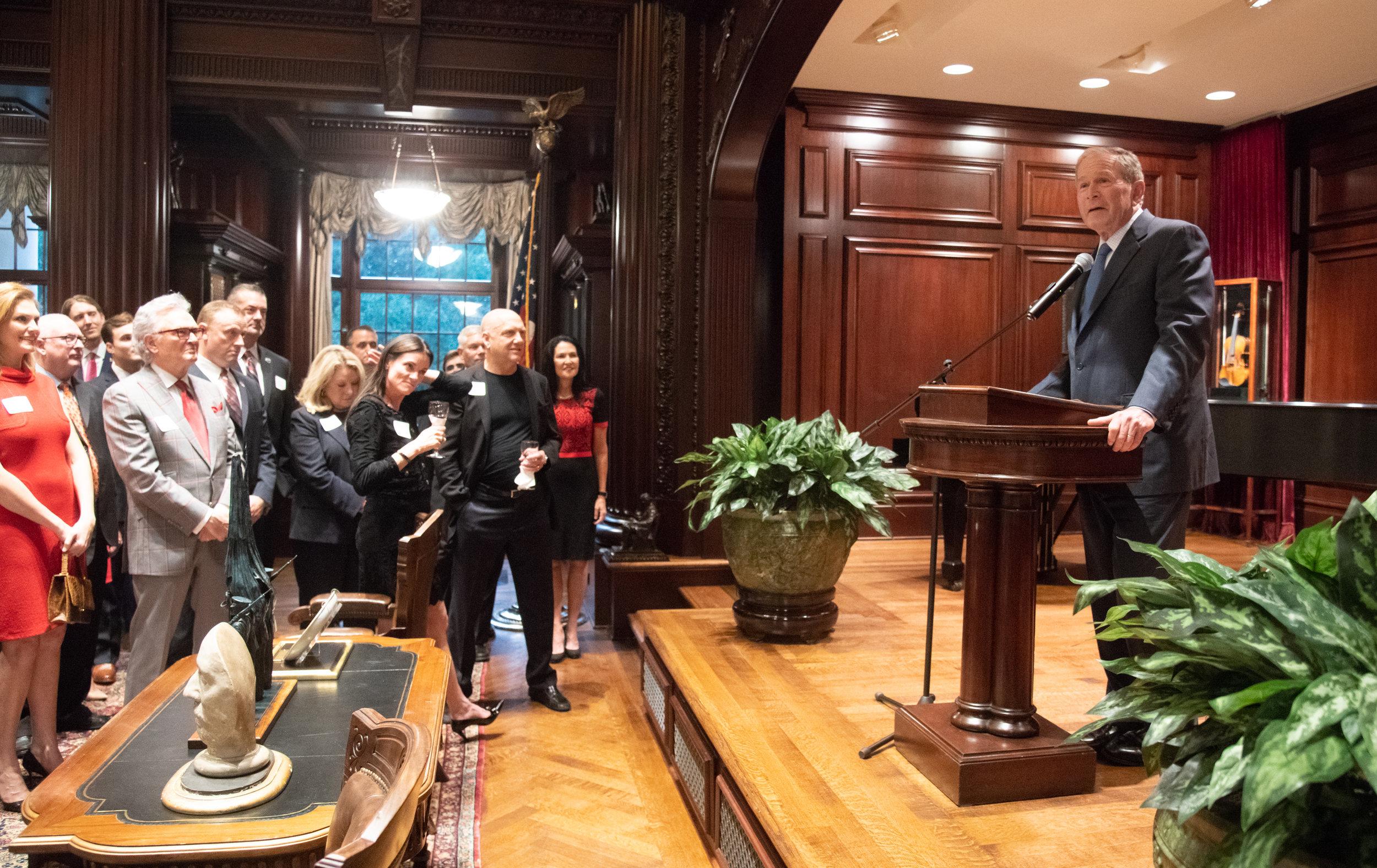 Former President George W. Bush speaks at Harlan Crow's Library on September 20, 2018.